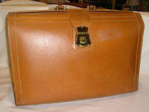"Huge Light Brown Leather Lawyer Valise / Briefcase / Satchel - 18"" L x 12"" T"