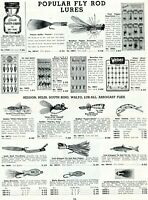 1952 Print Ad of Fly Rod Fishing Lures Frost Heddon Helin Walto Arbogast Pequea