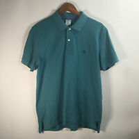 Brooks Brothers 1818 Mens L Short Sleeve Slim Fit Performance Polo Cotton blue
