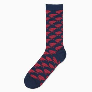 Obey WALK HOME Navy Red All Over Print Classic Tube 1 Pair Crew Men's Socks