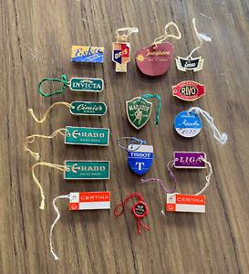"Vintage lot of 16 Hang Tags ""various watch brands"" as Rado Tissot Certina ..."