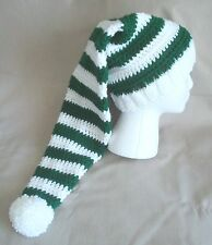 Handmade Knit Hat/beanie - white & green striped, extra long