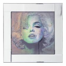 Square Mirror Frame with Glittered Marilyn Monroe Illustration Silver Litecraft