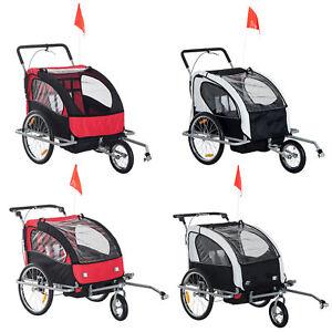 2-Seater Child Bike Trailer Kids Carrier Safety Harness Baby Stroller Jogger