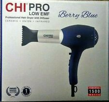 CHI Pro LOW EMF Professional Ceramic Anion Infrared Hair Dryer Berry Blue 1500W