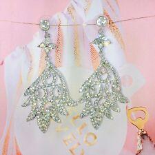 Silver Rhinestone Classic Water Drop Crystal Drop Bridal Wedding Earrings