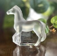 New Lalique Crystal Ulysse Horse Sculpture (Cheval in French) Head Up Prancing