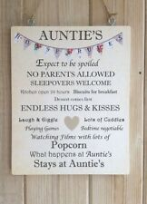 Auntie's House Rules wooden  Gift, plaque  hung with vintage twine home decor