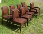 SET OF 8 CARVED OAK DINING CHAIRS