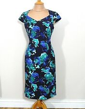 A2 Jacques Vert Green Multi Floral Print Dress Uk Size 10 Mob Cruise Races