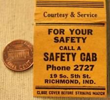 Richmond Indiana Safety Taxi-Cab company matchbook-Vintage Nat'l Rd 1930-40s Era