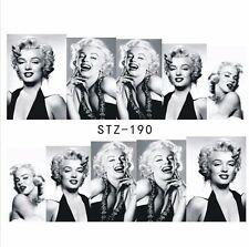 Full Wrap Water Transfers Nail Art Stickers Decals Black White Marilyn Monroe