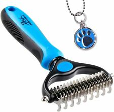 Pet Grooming Tool - 2 Sided Undercoat Rake for Cats & Dogs ,Easy to Clean