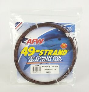 AFW 49-Strand 400lb Stainless Steel 7x7 Shark Leader Cable 30ft Brown #K400C-0