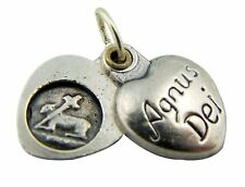 Silver Gild Agnus Dei Lamb of God Sliding Heart Medal Pendant Charm, 5/8 Inch