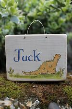 original Handmade & Hand Painted personalised dinosaur name door plaque