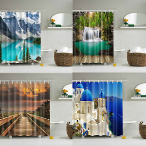 3D Nature Waterfall Scenery Waterproof Shower Curtain Bathroom Polyester Decor