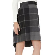 Vivienne Westwood Anglomania Grey Black Plaid Wool Dipped Hem Skirt UK 6 / IT 38