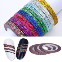1/2/3mm Matte Glitter Nail Striping Tape Line Colorful Nail Art Adhesive Sticker