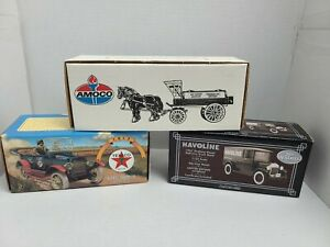 Lot Of 3 ERTL Diecast Limited Edition AMOCO TEXACO HAVOLINE Bank Horse Truck NOS