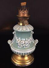 ANCIEN PIED DE LAMPE PETROLE FAÏENCE HUILE DECOR FRUITÉS  KAESTNER & TOEBEMANN
