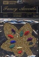 Westrim Crafts #14705 Fancy Accents Beaded Leaf Applique NIP