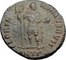 HONORIUS w Globe & Labarum 393AD Genuine Authentic Ancient Roman Coin i63477