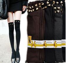 Black Glamor Womens Ladies Punk Rock Rivet Spike Studded Knee High Leg Stockings