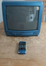 """Matsui 1408R LT BLUE 14"""" CRT TV  Retro Vintage Gaming TV Tested&Working,W/Remote"""