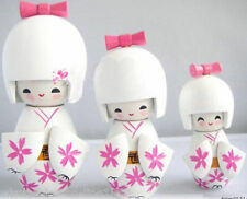 Cute 3 Pcs Oriental Japanese Kokeshi Dolls Girls Wooden - white