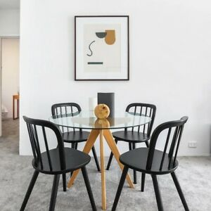 Set of 4 Black Wooden Dining Chairs Kitchen Chairs