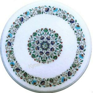Round Marble Coffee Table Top Semi Precious Stone Inlaid Work End Table 18 Inch