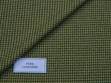 100% PURE CASHMERE FABRIC, GREEN/FAWN/BEIGE PUPPYTOOTH MADE IN ENGLAND 2.3METRES