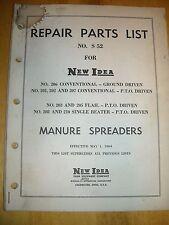 1964 New Idea Manure spreaders No, S 52 repair parts list used