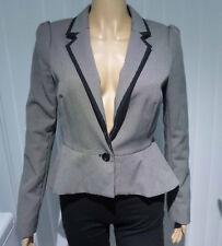 NEW LOOK size 12 peplum jacket black grey check