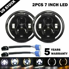 "2X 7""INCH 280W LED Headlight Hi/Lo Beam Halo Ring DRL For Jeep Wrangler CJ JK"