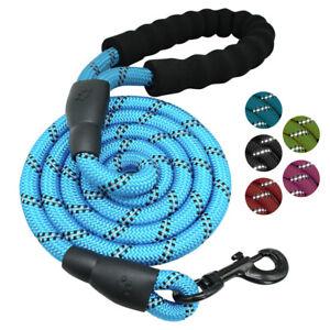 Heavy Duty Rope Dog Leash 4.9ft Nylon Reflective Lead & Soft Padded Handle Large