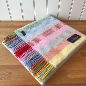 TWEEDMILL Pure New Wool  KNEE RUG / SMALL THROW RAINBOW GREY STRIPE Blanket Gift