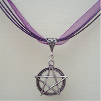 Pentagram Pendant Wicca Necklace Jewelry Silver Pagan Purple Ribbon Choker NEW