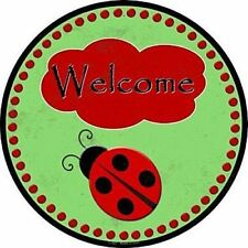 "Ladybug Welcome Sign 12"" Round Metal Sign Novelty Decorative Home Wall Decor"