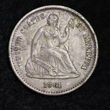1861 Seated Liberty Half Dime CHOICE AU+/UNC FREE SHIPPING E200 TNE