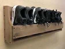Rustic Wooden Wall Mounted Shoe Trainer Rack Storage Organiser 1000mm (SR)(EL)