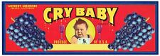 GENUINE CRATE LABEL BOX VINTAGE CRY BABY FRESNO WINE GRAPES SCARCE CALIFORNIA 2