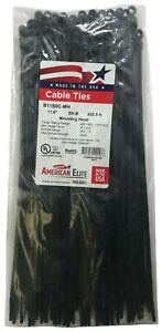 """(1000) Black Mounting Head Hole 11"""" Inch Nylon Cable Wire Wrap Zip Tie 50 LB USA"""