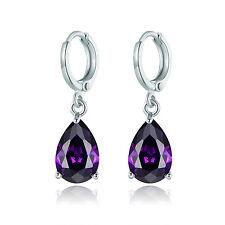 HUCHE Drop Shape Purple Sapphire Amethyst White Gold Filled Women Dangle Earring