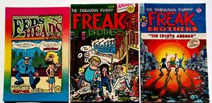 Underground Comic Book lot of 3 Freak Brothers #1 #10 & Feds N' Heads Comix 1980