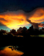 """8 1/2 x 11"""" HI RES COLOR PHOTO of BEAUTIFUL AMBER SUNSET IN SOUTH FLORIDA"""