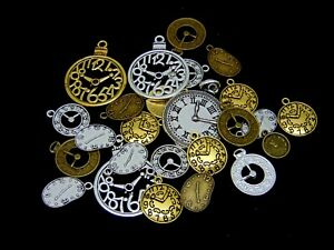 Tibetan Silver Golden & Bronze Clock Face Charms Pendant Jewellery Steampunk ML