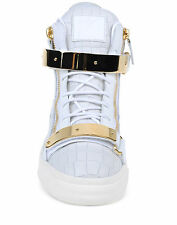 Giuseppe Zanotti Chrome White Gold Crocodile Print Calf Sneakers 39 US 7 $1115
