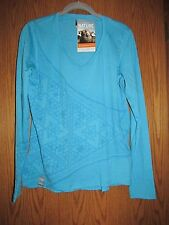 Icebreaker Merino Women's Oasis LS V-neck Base Shirt with Design on front - XL